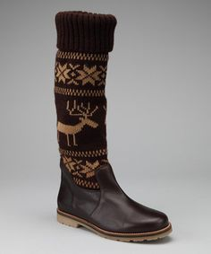 Stay haute when the temperature drops with these irresistible intarsia knit boots that dance the line between cozy-casual and chic. Stylish Scandinavian patterns evoke thoughts of elegant Alpine ski lodges, while sturdy traction soles lend this pair plenty of practicality.