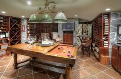 Wine cellar and game room combined