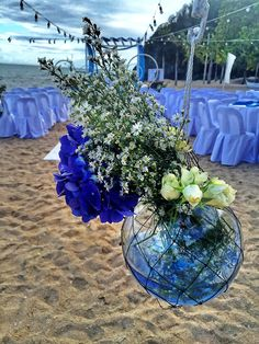 Hanging Fishbowl with fish net, flowers and colored water as aisle decors Flower Decorations, Table Decorations, Fishbowl, Catering Services, Event Styling, Service Design, Jazz, Events, Beach
