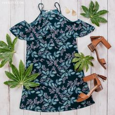 Women's Cold Shoulder Tropical Dress-Tropical Floral Print Dresses, Summer Dresses, Summer Outfits, Outfit Layouts, Summer Fashion Ideas, Get The Look, Tropical Vibes, Traveling
