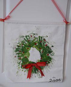Handprint Wreath.  My sweet Becca made one of these in preschool and gave it to Nana, so sweet!