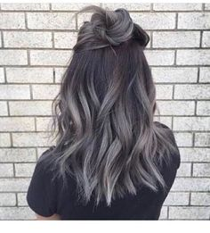 Medium, long,Textured, hair and silver length with black roots