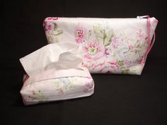 Shabby Chic Zipper Pouch and Tissue Holder Set by keriquilts.com