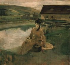 Eva Gonzalès met Édouard Manet in 1869 and was to become his student, colleague and model. Manet is said to have begun a portrait of her at once which was completed on 12 March 1870 and exhibited at Salon in that year. Julie Manet, France Art, Post Impressionism, Botanical Drawings, French Artists, Community Art, Oil On Canvas, Berthe Morisot, Paintings