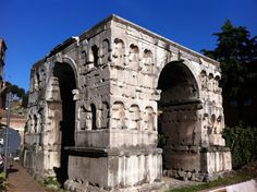The Arch of Janus is the only quadrifrons triumphal arch preserved in Rome, across a crossroads in the Velabrum-Forum Boarium. It was built in the early 4th century, using spolia, possibly in honour of Constantine I or Constantius II. Its current name probably dates from the Renaissance or later, and was not used to describe it in classical antiquity.