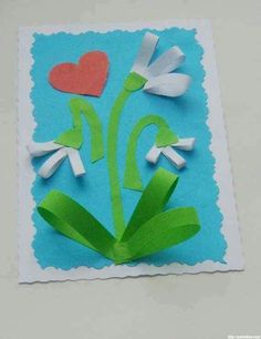 Mother`s Day Craft Ideas for Kids. Easy Handmade CARDS for Preschoolers / Arts and Crafts Activities for Kids. Children's Arts and Crafts Activities. Drawing and Poems Preschool Art, Craft Activities For Kids, Kids Crafts, Diy And Crafts, Arts And Crafts, Paper Crafts, Craft Ideas, Spring Projects, Spring Crafts