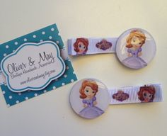 2 Princess Sofia the First Boutique Girls Lined Hair Clips party favors on Etsy, $4.11