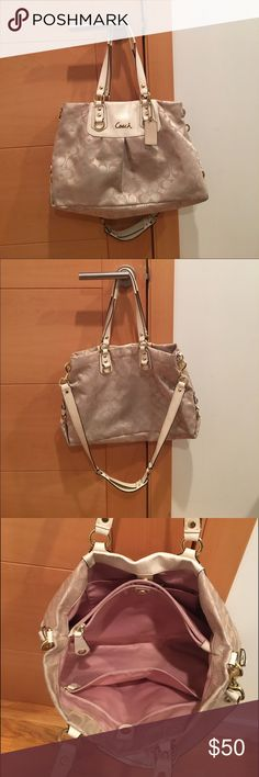 Looking for a used Coach Bag?? Look no further! This authentic nude CC Coach Bag is perfect! It has beautiful pink interior lining. This bag gets no use so it needs a new home. Normal wear and tear. Coach Bags Shoulder Bags