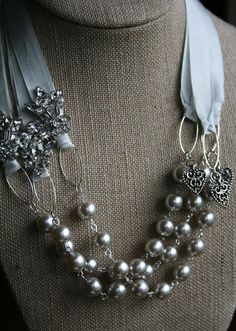 With June just around the corner, I am happily busy in the studio creating custom jewelry pieces, for brides and their bridesmaids. It's such a pleasure being able to share in their joy and contribute something for their special day. Ribbon Jewelry, Fabric Jewelry, Jewelry Crafts, Jewelry Art, Beaded Jewelry, Jewelry Accessories, Jewelry Design, Jewelry Ideas, Crystal Jewelry