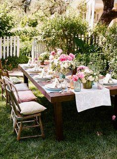 Outdoor food, flowers, paper lanterns...