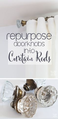 DIY decorating window treatment idea. Old doorknobs can become finials for these curtain rods made using electrical metal tubing.  Step-by-step photo tutorial shows you how easy it is.