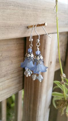 Blue Flower Earrings, Crystal EArrings, Assemblage EArrings, FloWer Jewelry  These elegant blue flower earrings are so feminine and romantic! These crystal earrings are antique inspired and stunning on. These assemblage earrings are nickel and lead free and have a stainless steel, hype allergenic ear wire. The crystals are blues and grey. The slate blue is so stunning and you could dress them up or down. The total drop from the top of the ear wire to the bottom of the last crystal is 2…