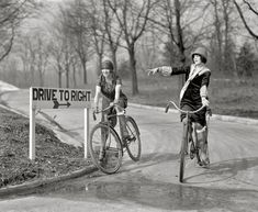 """Mildred Billert and Hazel Bowman of Ned Wayburn's Revue."" February 7, 1925. Washington, D.C. National Photo Company glass negative. // Nothing quite like a flapper on a bike."