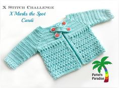 Free crochet pattern for baby cardi, cardigan, x stitch challenge by Pattern Paradise Crochet Baby Sweaters, Crochet Baby Cardigan, Crochet Baby Clothes, Baby Knitting, Toddler Cardigan, Toddler Dress, Baby Dress, Crochet Gratis, Free Crochet