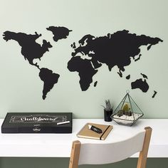 Get a Chalkboard Map up on your wall for some #wanderlust inspiration while you work...  #WanderlustWednesday #Desk #WorkWorkWork #GirlBoss #HouseGoals #travel #wanderlust #interiordesign #decor #Chalkboard #Chalkpaint #ChalkTalk #ChalkboadDrawing #travelplans #travellife #traveladdict #travelbug #takemethere #letsgo #travelswag #corkboardmap #luckiesoflondon