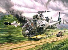 """""""Un hélicoptère Gazelle Viviane de l'ALAT française tire un missile HOT. Le viseur APX M397 dispose de 3 voies : diurne, nocturne (intensification de lumière) et thermique"""""""