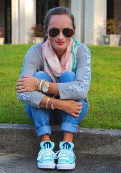 Turquoise monogramed chuck taylors. @9thandelm.com #converse From Morrell's Armoire Fashion Blog
