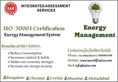 ISO 50001 is an internationally standard that sets out the requirements for an Energy management system. It helps organisations improve their Energy safety performance through more efficient use of resources and reduction of waste, gaining a competitive advantage. For More details Contact us : +91 9600051938, +91 9962590571. Email: info@iasiso.com #Chennai #bangalore #Cochin #hyderabad #Mumbai #Madurai