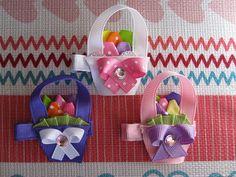 Easter Basket Hair Clip- Ribbon art Ribbon Sculpture Ready to ship Easter Hair Bow. $4.00, via Etsy.