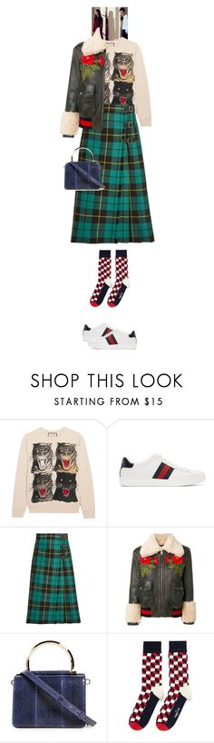"""Narda #9398"" by canlui ❤ liked on Polyvore featuring Gucci, Salvatore Ferragamo, Happy Socks and gucci"