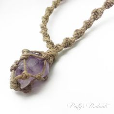 Raw Amethyst Macrame Spiral Necklace  Net by PinkysPendants