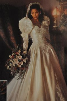 80's wedding gowns | Look at her Puffy sleeves! This wedding dress sucks on so many levels!