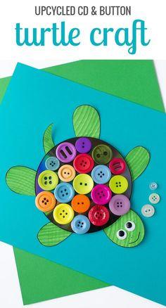 CD and Button Turtle Craft - Spring Crafts For Kids Daycare Crafts, Preschool Crafts, Easy Crafts, Crafts For Kids, Craft Kids, Kids Daycare, Kids Diy, Decor Crafts, Toddler Art