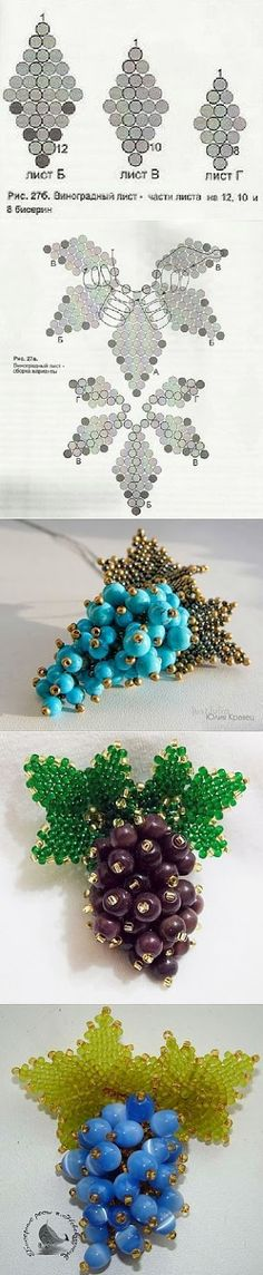 Multi-dimensional grape cluster bead pattern. Page is in Polish- open with the Chrome browser or translate.google.com