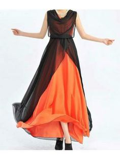 Club Black and Orange Color Matching Long Dress