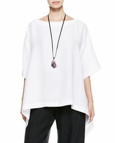 Black, white, and easy - eskandar Side-Cascading T-Shirt, Drawstring Trousers & Crystal Pendant Necklace - Neiman Marcus
