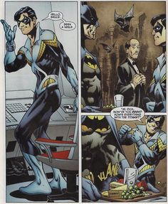 """Dick: Hello, Bruce. Been a while.  Bruce: *silence*  Dick: """"Hi, Dick. How've you been? How are things with the Titans?"""""""