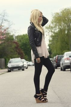 Short jacket, long tank. add some black skinny jeans, minus the shoes.