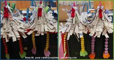 For the technique is simple:  A cone of paper on which are glued strips of paper. We start with the bottom turn and back covering every time up strips of the previous round.  legs are made on the principle garlands accordion, easy to perform by children because it is a simple 2 folding strips of paper.  remains then paste the cut shapes (crest, wings and feet) beak and a small band folded in 2 barbs
