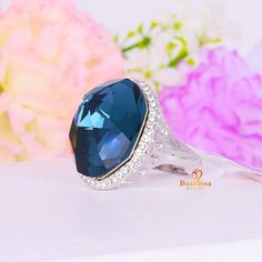 R310963 new elegant big blue crystal ring Zinc Alloy silver color rose gold color with Austria crystal fashion women jewelry #Affiliate