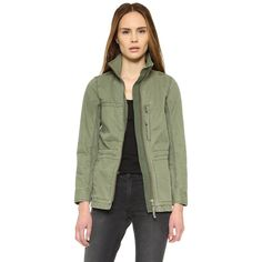 Madewell Fleet Jacket ($118) ❤ liked on Polyvore featuring outerwear, jackets, green military jackets, madewell, stand up collar jacket, military jackets and military style jacket