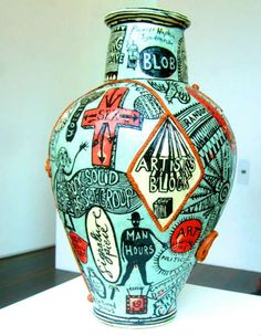 Grayson Perry vase - would like one on my hall table to shock elderly relatives. Ceramic Clay, Ceramic Pottery, Pottery Art, Pottery Ideas, Grayson Perry, Vases, Contemporary Ceramics, Contemporary Art, Clay Design