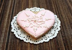 Pink Lace Heart cookie - Katie's Something Sweet - http://katieyoon.blogspot.com