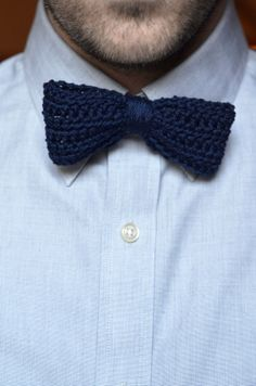 Navy Crocheted Men's Bow Tie / Buy it, Borderlinx will ship it to you. http://www.borderlinx.com/