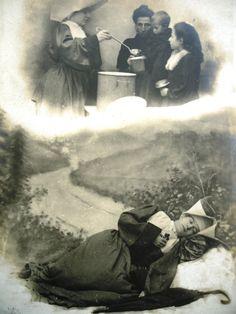 Antique french nun postcard - Nun, road, umbrella, kitchen, food, poor, black white tinted, 1900
