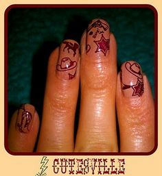 I have been so excited to use this plate! Konad is a collection of western images and they are absolutely adorable. here are the nails:. Cute Nail Art, Cute Nails, Western Nail Art, Concert Nails, Cowgirl Hair, Long Red Hair, Dark Hair, Brown Hair, Chelsea Houska Hair