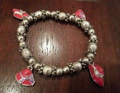 Vintage bracelet silver tone beads, red hat with purple ribbon #Beaded