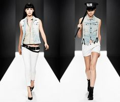 (2a) Womens RCT Uniform Leather Barracuda - (2b) Womens Arc Denim Vest and Shorts -G-Star RAW 2013 Spring Summer Womens Runway Collection