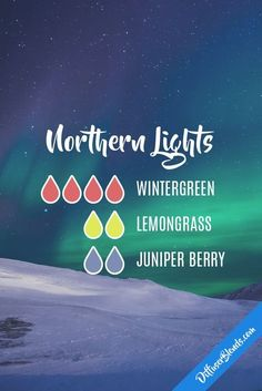 Northern lights - wintergreen, lemongrass and juniper berry Essential Oil Scents, Essential Oil Diffuser Blends, Essential Oil Uses, Doterra Essential Oils, Young Living Essential Oils, Doterra Diffuser, Aroma Diffuser, Aromatherapy Oils, Juniper Berry