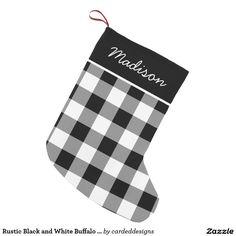 Rustic Black and White Buffalo Check Monogram Small Christmas Stocking