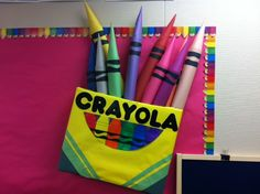 Bulletin Board idea--box of crayons art. Use a cardboard box. Rolled construction paper for the crayons. Crayon Bulletin Boards, Classroom Bulletin Boards, Classroom Door, Classroom Themes, Infant Classroom, Classroom Environment, Class Decoration, School Decorations, School Themes