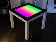 White Led Coffee Table Arduino LED table Colored Glass Table