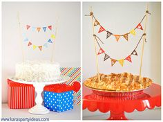 FREE DOWNLOAD- mini happy birthday & alphabet pennant bunting banners for your cake from www.karaspartyideas.com