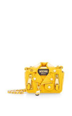 Mini Biker Bag Yellow by Moschino Travel Handbags, Mini Handbags, Fashion Handbags, Purses And Handbags, Yellow Purses, Yellow Handbag, Luxury Purses, Luxury Handbags, Leather Crossbody Bag
