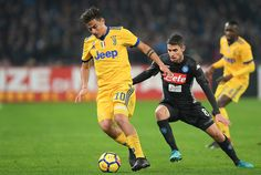 Player of SSC Napoli Jorginho vies with Juventus player Paulo Dybala during the Serie A match between SSC Napoli and Juventus at Stadio San Paolo on December 1, 2017 in Naples, Italy.