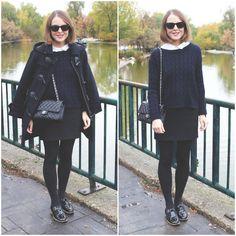 Ray Ban Sunglasses, The Kooples Shirt, Sandro Sweater, Barbour Coat, The Kooples Skirt, Topshop Flats, Chanel Bag